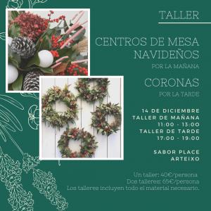 Taller floral de coronas y centros navideños
