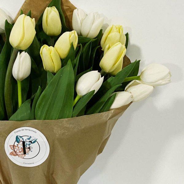 tulipanes blancos crema