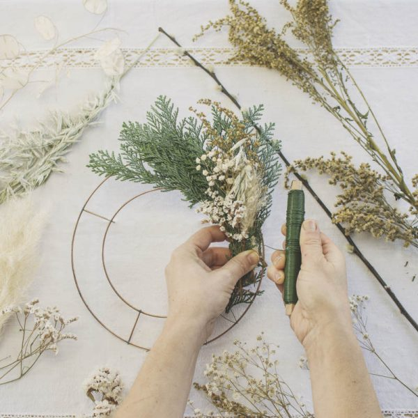 corona-alambre-florista-